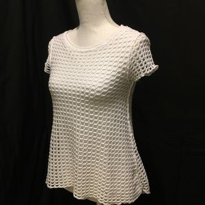Pete (Anthropologie) short sleeve top. White lace